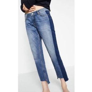 Zara Two-Tone Denim Jeans Size US6 EUR38